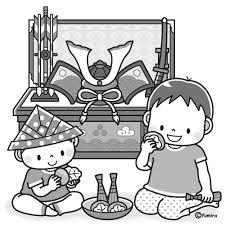 5月人形兜飾りと柏餅を食べる兄弟のイラストモノクロ 子供と