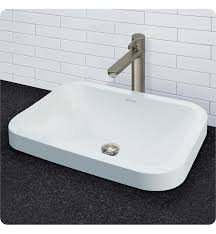 decolav 14110 cwh matt muenster exclusive vitreous china semi recessed rectangular lavatory with rounded corners and overflow