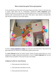 Want A Stress Free Party Hire A Party Planner