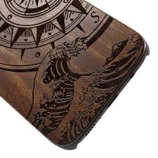 for samsung galaxy s8 plus g955 carving handmade hard wood phone case accessory compass and
