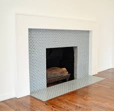 ocean mini glass tile fireplace surround could be nice as a horizontal accent tile in shower