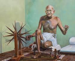 mahatma gandhi spinning oil painting figures painting portrait celebrity gandhi leader