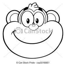 black and white smiling monkey face csp33166851
