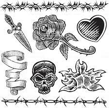 татуировка дизайн сердце нож розовый пламя стоковая векторная