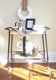 office rolling cart. Office Coffee Cart. Refurbished Metal Rolling { Cart Accessorized With Recycled Materials