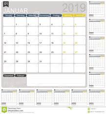 German Planning Calendar 2019 Stock Vector Illustration Of