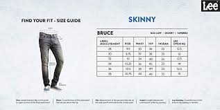 Lee Jeans Size Chart Lee Mens Bruce Skinny Fit Mid Rise Jeans