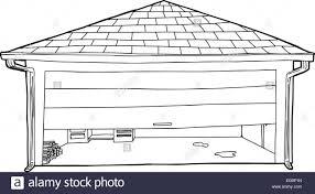 outline cartoon of residential garage with half open door stock image