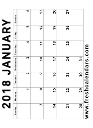 calendar january 2018 template 25 blank printable january 2018 calendar free templates