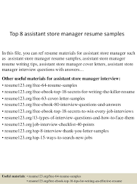 Assistant Store Manager Resume Stunning Top 40 Assistant Store Manager Resume Samples
