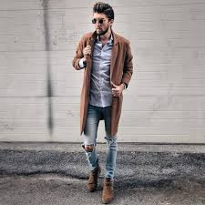 Keep your shoe game on point with our collection of chelsea boots. Men S Brown Overcoat Light Violet Dress Shirt Light Blue Ripped Skinny Jeans Dark Brown Suede Chelsea Boots Brown Suede Chelsea Boots Mens Outfits Brown Overcoat