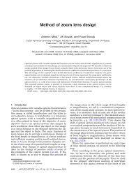 Lens Design A Practical Guide Pdf Pdf Method Of Zoom Lens Design