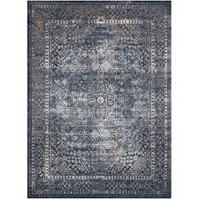8 x 11 large navy blue cream and rust area rug malta