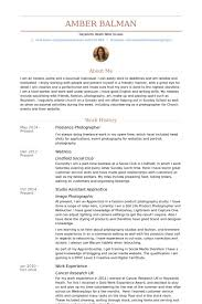 Freelance Photographer Resume samples