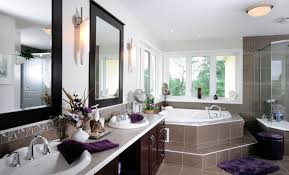 another large bathroom with built in tub