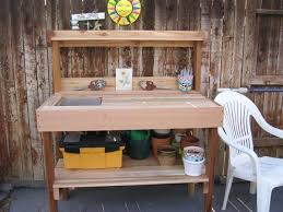 potting bench with sink benchcedar wood potting bench with sink gardenista storage outdoor tables designs 76