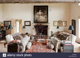 Heavy Danish Linen Upholstered Sofas In Living Room With Old
