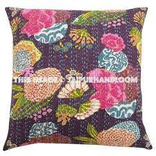24x24 Purple Handmade Kantha Pillow Kantha Decorative throw Pillow k