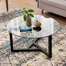 A wide variety of wood glass coffee tables options are available to you, such as wood style, material, and appearance. Amazon Com Round Coffee Table 35 Modern Glass Coffee Table P Purlove Easy Assembly Tempered Glass Table For Living Room With Black Wood Base Kitchen Dining