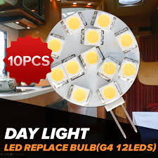 10 led 12v g4 replacement bulb rv car boat marine interior cabinet spotlight dome light