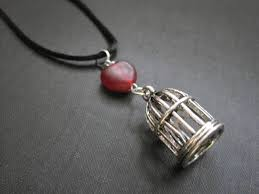 red heart bird cage silk cord necklace