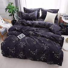 home bedroom 3d black star bedding set 3 fashion cartoon sheet bedding single double full size quilt cover pillowcase full size comforter sets silver