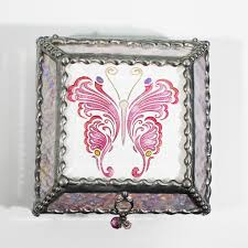 Stained Glass Jewelry Box Designs Etched Hand Painted Victorian Butterfly Stained Glass