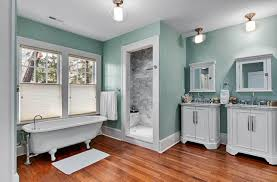 cool paint color for bathroom with white vanity cabinets
