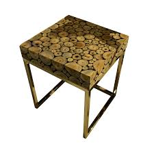 round wood mosaic coffee table c
