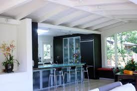 ... Wonderful Home Interior Decoration With Beam Ceiling Ideas : Modern  Kitchen Design With Black Kitchen Cabinet ...