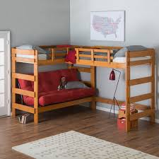 Woodcrest Heartland L-Shaped Loft Bunk Bed with Extra Loft Bed - Honey |  Hayneedle