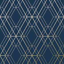 Blue And Gold Design Metro Diamond Geometric Wallpaper Navy Blue And Gold Wow003 World Of Wallpaper