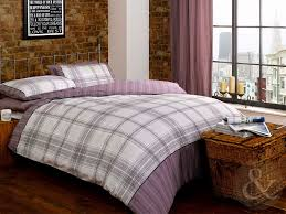 just contempo check duvet cover set single purple co uk kitchen home