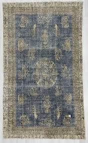 1710 vintage navy blue turkish oushak rug