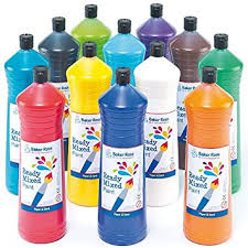 Ready <b>Mixed Paint</b> - 600 ml, 6 Assorted Colours Water-Based Paint ...