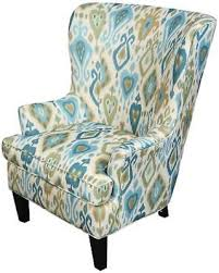 ikat accent chair.  Accent Porter Clover Green And Teal Ikat Wingback Accent Chair Clover Chair  Blue In I