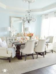 elegant dining room with lauren s surprise blue paint and tray ceiling with elegant crystal chandelier