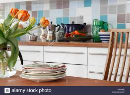 Kitchen Tiled Splashback Tiled Kitchen Splashback Stock Photos Tiled Kitchen Splashback