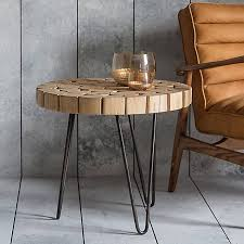 hudson living kelstern teak round side table with metal hairpin legs grattan