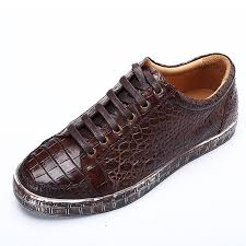 classic alligator leather sneakers low top mens fashion alligator sneakers brown
