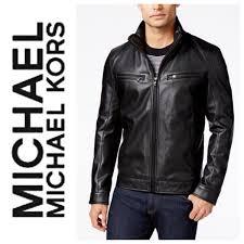 new 200 michael michael kors men s faux leather moto jacket lined black