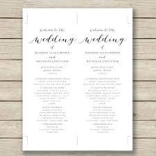 Wedding Bulletin Template Wedding Programs Wedding Ceremony Program