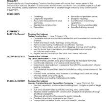 Laborer Resume Examples Of Resumes Pics Resume Sample And
