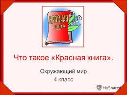 Презентация на тему Что такое Красная книга Окружающий мир  Окружающий мир 4 класс
