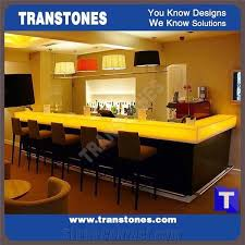 illuminated bar top countertop designs with translucent faux backlit artificial alabaster resin panels for hotel engineered onyx kitchen bar top