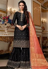 Black Sharara Designs Black Designer Satin Georgette Embroidered Sharara Style Pakistani Suit 4514