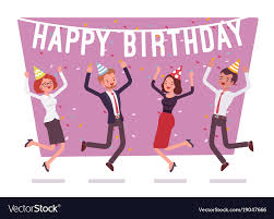 Office Birthday Happy Birthday Party In The Office Royalty Free Vector Image