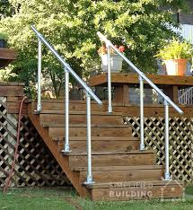 handrail mounted on each side of the wooden stairs