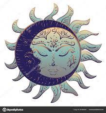современные татуировка сна солнце луна дизайн векторное