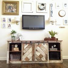 corner barn door tv stand fireplace for inch diy farmhouse